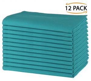 12 Pack Plain Cotton Dinner Napkins 50x50 CM, Teal