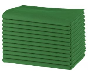 12 Pack Plain Cotton Dinner Napkins 50x50 CM, Green