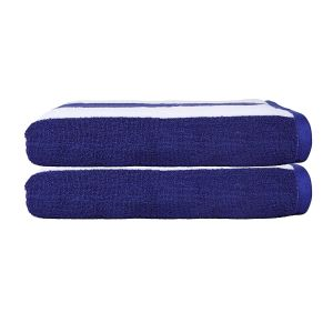 SweetNeedle - Cabana Royal Blue Stripe Terry Beach Towels - 2 Pack
