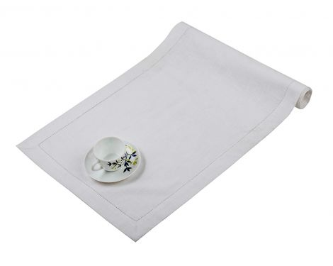 SweetNeedle - Cotton Slub with Hemstitched Dinner Table Runner - White-1
