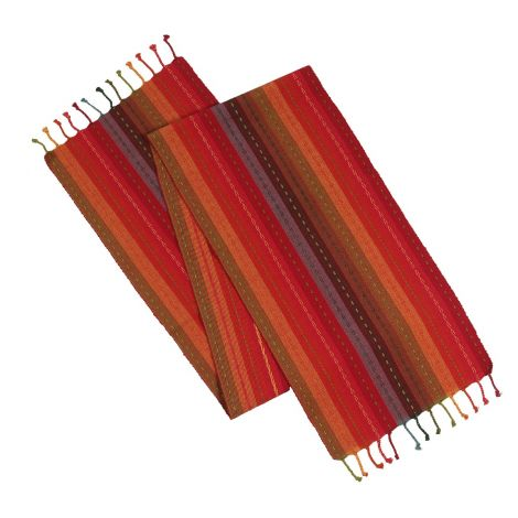 SweetNeedle - Red Multi Stripe Hand Knotted Fringe Table Runner 40x228 CM