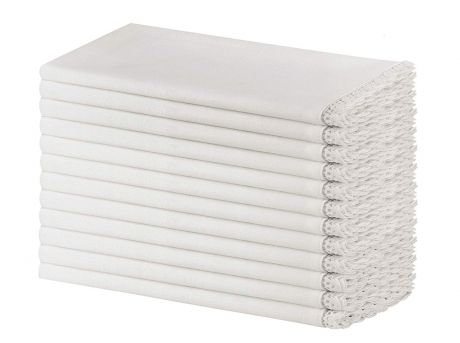 12 Pack Slub Cotton with Lace Dinner Napkins - White