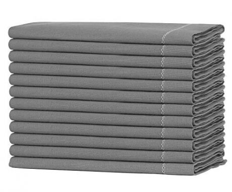 12 Pack Slub Cotton with Contrast Hem Dinner Napkins - Charcoal