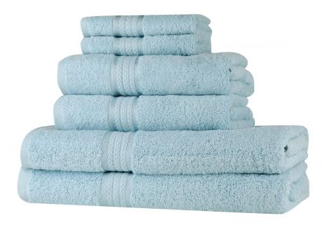 Super Soft 6 Piece Towel Set - Light Blue