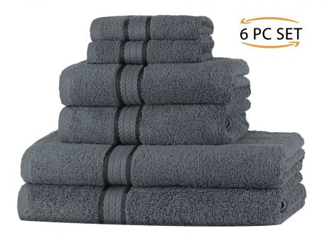 SweetNeedle - Super Soft 6 Piece Towel Set - Charcoal