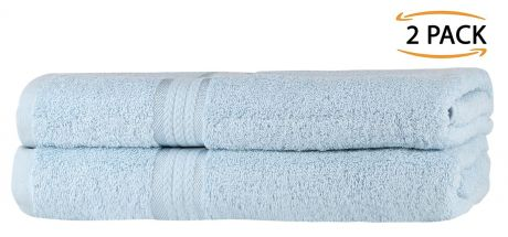 Super Soft 2 Pack Bath Towels - Light Blue