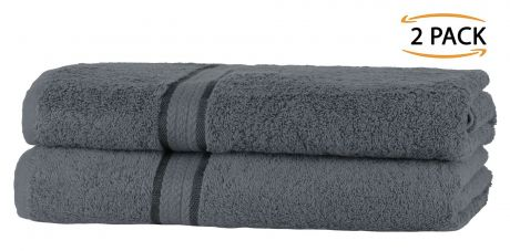 Super Soft 2 Pack Bath Towels - Charcoal