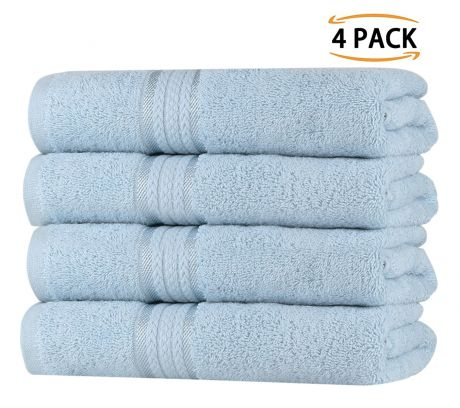 Super Soft 4 Pack Hand Towels - Light Blue