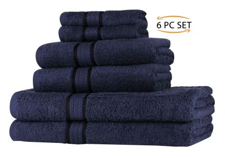 Super Soft 6 Piece Towel Set - Navy