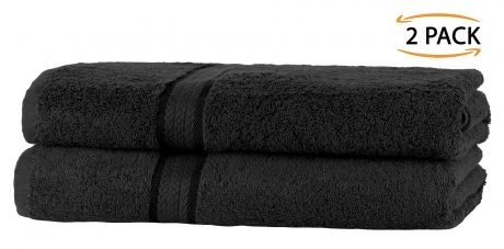 Super Soft 2 Pack Bath Sheets - Black