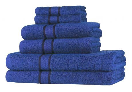 Super Soft 6 Piece Towel Set - Royal Blue