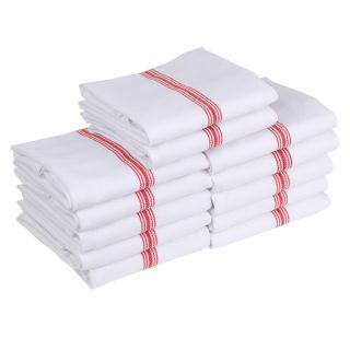 Classic Kitchen Tea Towels/Dish Cloth 12 Pack - Red