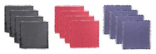 DOUBLE TONE WITH FRINGES NAPKIN PACK OF 12 MULTI