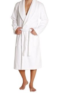 Men's Terry Bathrobe with Pockets - White