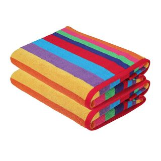 Miami Vibe Multi Stripe Terry Beach Towels - 2 Pack