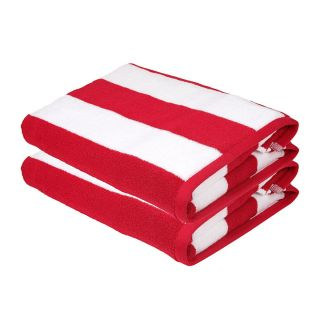 SweetNeedle - Cabana Red Stripe Terry Beach Towels - 2 Pack