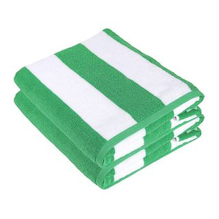 SweetNeedle - Cabana Green Stripe Terry Beach Towels - 2 Pack
