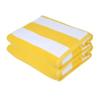 SweetNeedle - Cabana Yellow Stripe Terry Beach Towels - 2 Pack