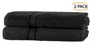 Super Soft 2 Pack Bath Towels - Black