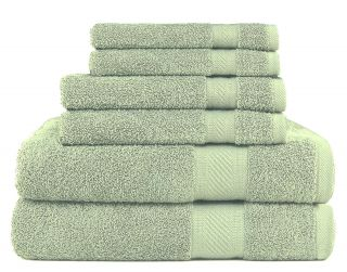 Daily Use 6 Piece Towel Set - Sage Green