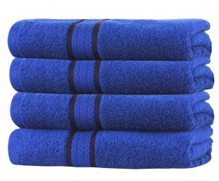 Super Soft 4 Pack Hand Towels - Royal Blue