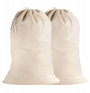 SweetNeedle - 2 Pack Cotton Extra-Large Heavy Duty Laundry Bags - Natural