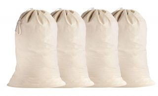 SweetNeedle - 4 Pack Cotton Extra-Large Heavy Duty Laundry Bags - Natural