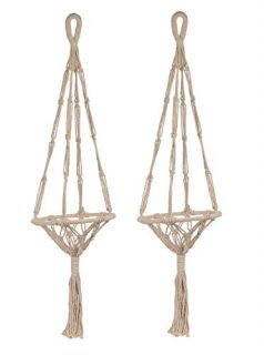 2 Pack Plant Hanger Macrame Plant Pot Holder - Natural