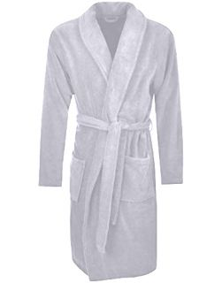 Men's Terry Bathrobe with Pockets - Light Grey