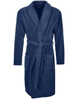 Men's Terry Bathrobe with Pockets - Navy