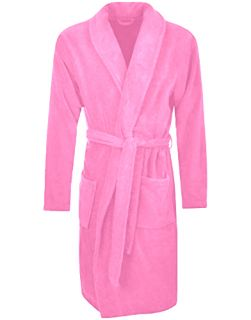 Men's Terry Bathrobe with Pockets - Pink