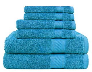 Daily Use 6 Piece Towel Set - Cyan Blue